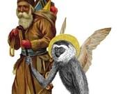 Santa and his Helper Monkey - Christmas Card