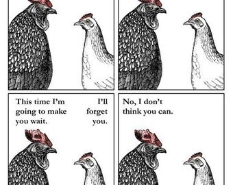 Chicken Drama - 5 x 7 Art Print