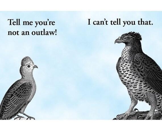 Outlaw Love Birds - Magnet - Humor - Gift - Stocking Stuffer - Hawk - Love