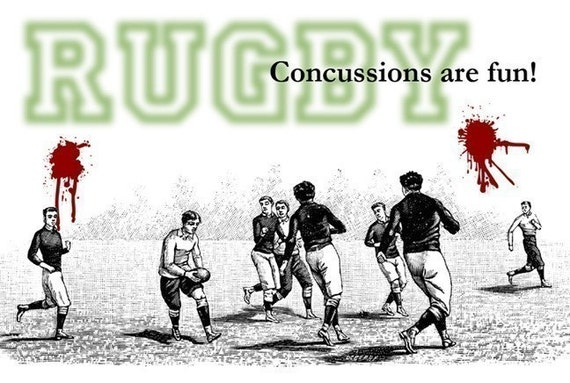 Concussions Are Fun - Rugby Magnet - Humor - Gift - Stocking Stuffer