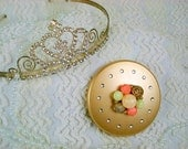 Vintage Jewel and Bead Cluster with Rhinestones Embellished Gold Double Purse Mirror Compact