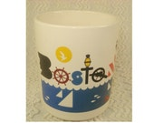 Vintage Boston Coffee Mug - Wonderful Nautical and Early American  Frank Nofer Graphics - 1977