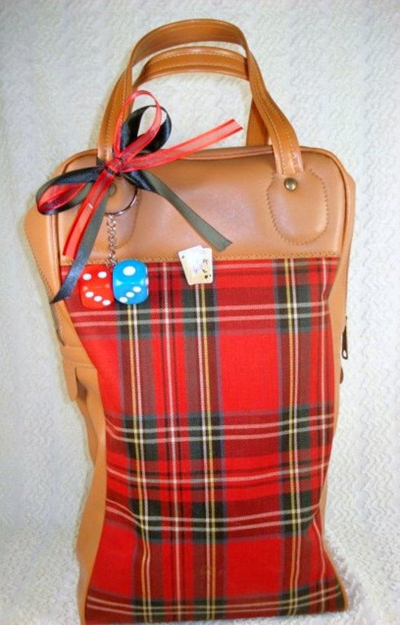 Vintage Picnic Red Plaid Tote/Travel Bag - Embellished in Gambling Theme