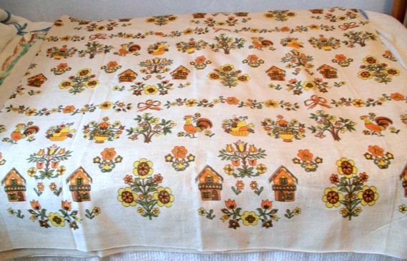RESERVED for Cheryl Scanion -  Vintage Linen Barkcloth Early American Folk Art Fabric for Curtains - Retro Colors - Over  5 Yards