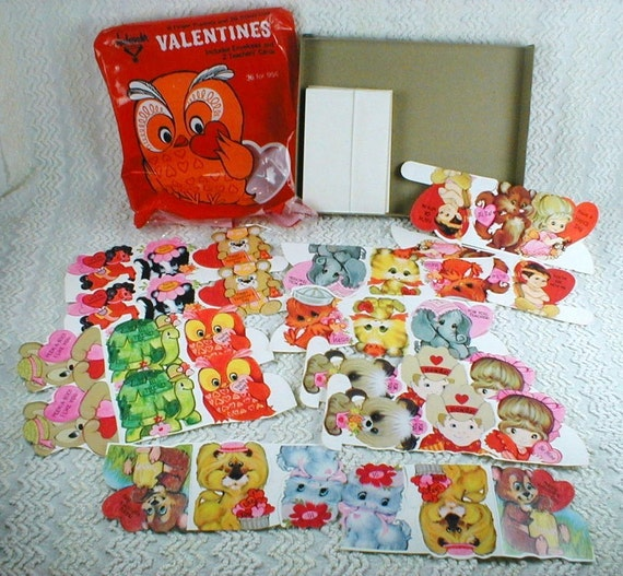 Vintage 1960's\/1970's Valentine Cards Big Eyed Whimsical Animals and Children...Complete Set with Package...New Old Stock