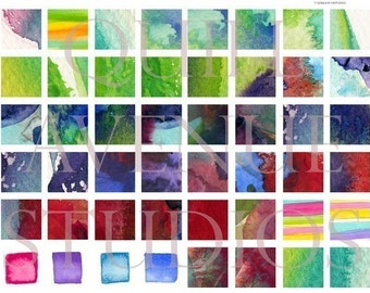 Digital Collage Sheet 1x1 inch Watercolor Squares