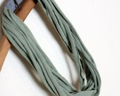 Up-cycled T-Shirt Infinity Necklace or Scarf SHORT ARMY GREEN Jersey