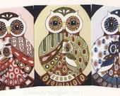 Postcard set - Owls - stationery owl art cards