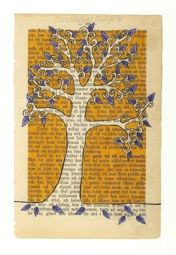 SALE- Tree with blue leaves - Print