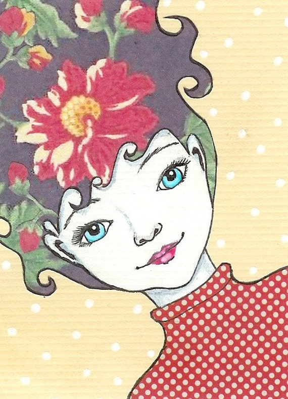Constance - Original mixed media ACEO