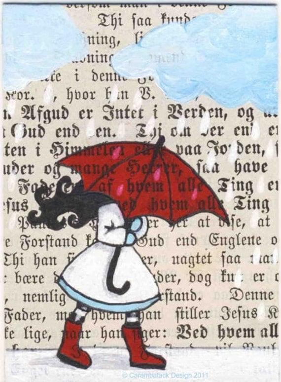 Original ACEO - My red umbrella