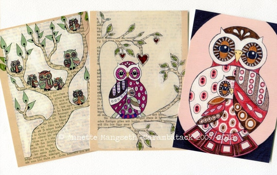 Postcard set - Owls