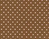 SALE Robert Kaufman Pimatex Basics Small Pink Dots on Brown Fabric - Half Yard