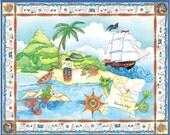 Pirate Treasure Playmat Panel Fabric - 1 Panel