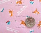 Eau De Mer Kawaii Japanese Tiny Deer on Pink Fabric - Half Yard