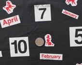 SALE/CLEARANCE Kumiko Fujita, Months, Numbers and Poodles on Black Japanese Fabric  - Half Yard