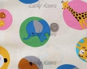 Cute Animals in Circles on Cream Japanese Fabric - REMNANT Size 10 Inches by 43 Inches