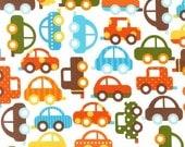 Ann Kelle, Ready, Set, Go, Cars in Bermuda Organic Cotton Fabric - By the Yard