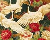 Robert Kaufman Oriental Traditions 8 Crane Blossom Crimson Fabric - By the Yard