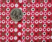 SALE What A Hoot, Hearts in Circles (Fuchsia/Brown-Gray) Fabric- Half Yard