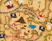 Pirate Map Fabric on Natural - Half Yard