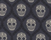 Michael Miller Skull Damask Gray OOP Fabric - Half Yard