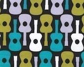 Michael Miller Groovy Guitar Lagoon Fabric - Half Yard