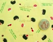 Eau De Mer Kawaii Japanese Hedgehog Mushrooms on Yellow Fabric - Half Yard