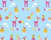 Robert Kaufman Toyland, Cute Deer on Sky Blue OOP Fabric - REMNANT Size 12 Inches by 44 Inches