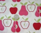 Apples and Pears on Natural Pink Fabric - By the Yard