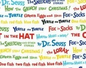 Dr. Seuss, Colorful Words Celebration Fabric - REMNANT Size 35 Inches by 44 Inches