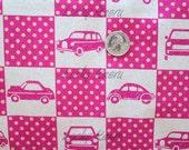 SALE Echino Ni-co Car Patchwork Pink Fabric- Half Yard