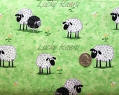 Susybee, Sheep on Green Fabric - By the Yard