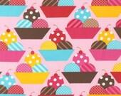 Ann Kelle, Dessert Party, Ice Cream Sundae Summer Pink Fabric - By the Yard
