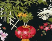 Wild Ginger, Scenic Lily Pond Black Fabric - REMNANT Size 30 Inches by 44 Inches