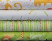 Alyssa Thomas of Penguin and Fish, Safari Sweet Green Half Yard Organic Cotton Fabric Set
