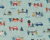 SALE Japanese Repair Robots on Blue Japanese Linen Fabric - Half Yard
