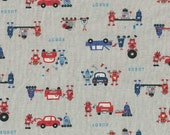 Japanese Repair Robots on Gray Japanese Linen Fabric - Half Yard