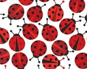 Ann Kelle Cool Cords Ladybugs in White CORDUROY Fabric - 1 Yard