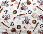 SALE The Berenstain Bears, Wecome to Bear Country, Sports Equipment White Fabric - Half Yard