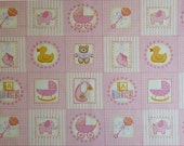 Makower UK Baby, Baby Girl Labels Pink Fabric - By the Yard
