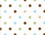 SALE Robert Kaufman Cozy Cotton Polka Dots Chocolate FLANNEL Fabric - REMNANT Size 25 Inches by 43 Inches