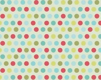 SALE Riley Blake Designs, Just Dreamy, Blue Medium Dot on Cream Fabric - Half Yard