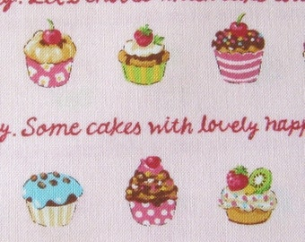 Japanese Cupcakes on Pink Fabric - Half Yard