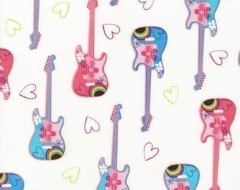 Sugar and Spice Guitars Multi OOP Fabric - REMNANT Size 25 Inches by 44 Inches
