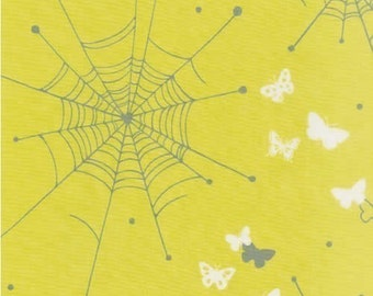 Echino Butterfly Web Cobweb Yellow OOP Fabric - HALF Yard