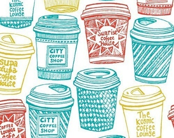 Coffee Buzz, Coffee Cups Teal/Red/Yellow Fabric - Half Yard
