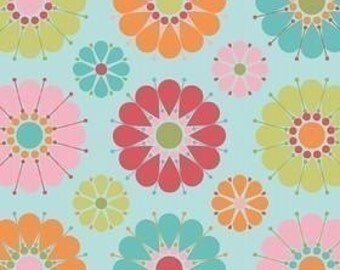 Riley Blake Designs, Just Dreamy, Large Floral Blue OOP Fabric - REMNANT Size 31 Inches by 42 Inches