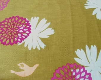 Echino Flower Olive Green OOP Fabric- HALF YARD