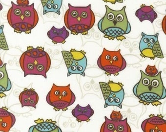 Robert Kaufman Cool Cords Owls White CORDUROY Fabric - REMNANT Size 27 Inches by 44 Inches